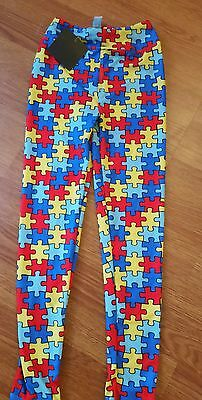 kids Autism Awareness buttery soft puzzle piece leggings pants 6 8 10 NWT