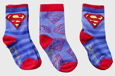 Boys Baby / Childrens / Childs  3 Pack of Superman Socks Size 0-2.5 or 6-8.5