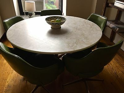 "Vintage mid century 48"" dining set and 5 green retro dining chairs"