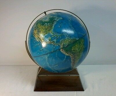 Vintage Rand McNally World Portrait Globe 12 in wood base