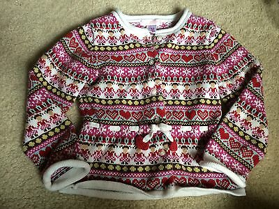 Janie and Jack Girls Red Hearts Fair Isle Knit Cardigan Sweater 4t