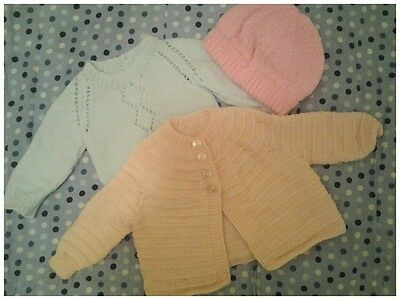 hand knitted new born baby clothes girls