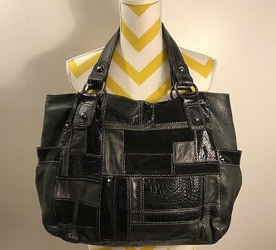 Fossil Women's Black/Gray Leather Purse Hobo Shoulder Bag Large to XL