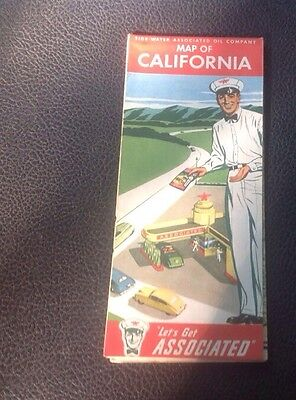 1940 California Road Map Flying A Service - Tidewater Oil Company