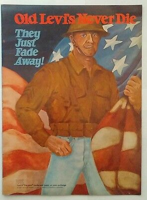 1971 Ad Old Levi's jeans Never Die Dugald Stermer Sta-prest military magazine ad