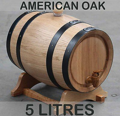 5L American Oak Barrel Keg Wine Spirits Whisky Port Liquor Wood French Toasted