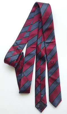 Fred Perry silk skinny tie striped red blue laurel embroidery mod punk