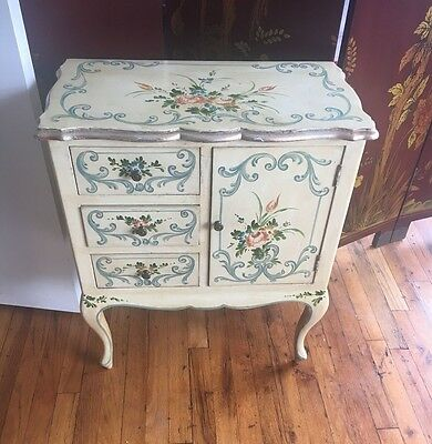 Vintage French Tole Painted Cabinet / Nightstand, Shabby Chic