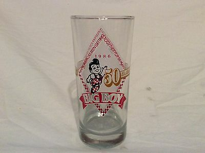 Vintage Bob's Big Boy 50th Anniversary Glass Drinking Tumbler 1936-1986 D