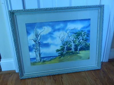 Original Watercolor Seascape B. Huber Matted and Framed