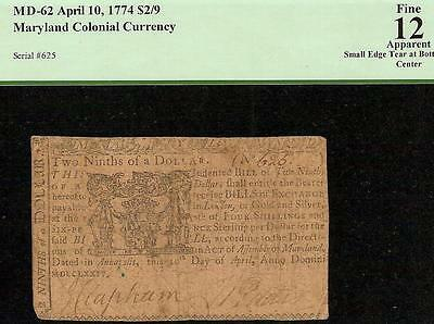 April 10, 1774 $2/9 Dollar Maryland Colonial Currency Note Old Paper Money Pcgs