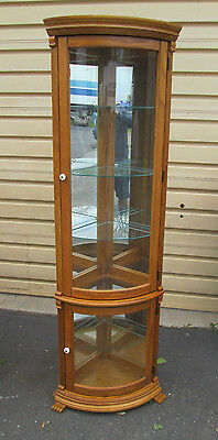 56993  Chippendale Style Oak Lighted Corner China Cabinet Curio w/ Curved Glass