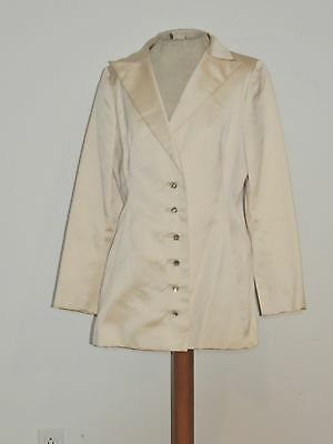 Vintage Pauline Trigere Cream Satin Evening Jacket w Rhinestone Buttons MED