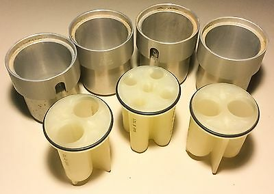 Lot of 4 Thermo IEC 51138 2780g Swing Centrifuge Buckets W/ 3x Vial Inserts