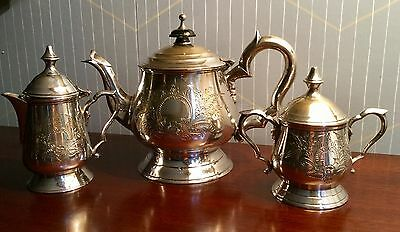 Vintage Silver Plated Small 3 Piece Tea Set Completely Lidded