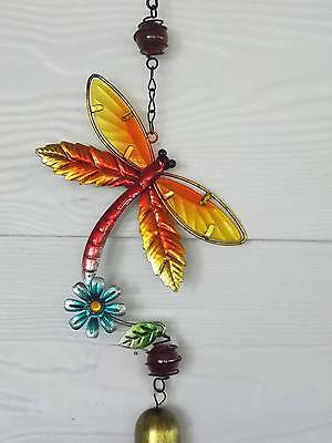 Glass Metal Dragonfly Bell Mobile Red/yellow - Brand New