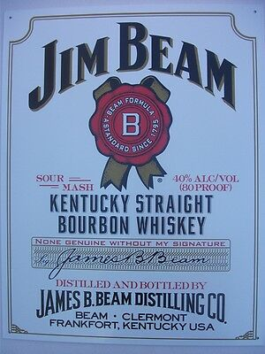 Jim Beam Bourbon  Replica Vintage Tin Sign 300Mm X 400Mm Made In Usa