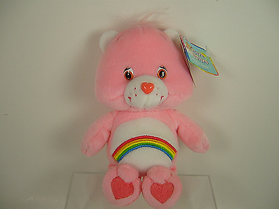 "8"" Pink Rainbow CHEER Care Bear Plush Beanie 2003 With Tags"