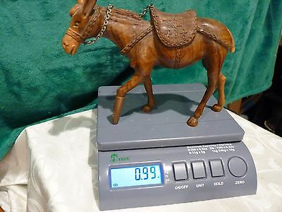 Vintage Ornately Hand Carved Wooden Donkey Figurine Farm Nativity Animal Mule