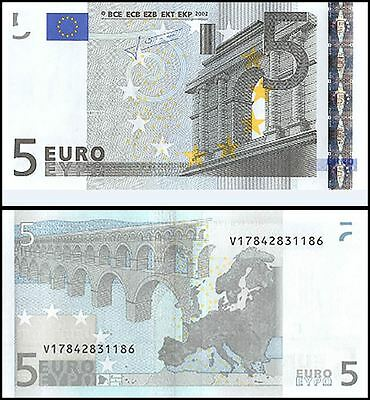 European Union (Spain) 5 Euros, 2002, P-8v, UNC, Pefix-V