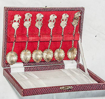 Antique/Vintage Set Of Six Spoons From Java Hallmarked .800 Silver Lovely Design
