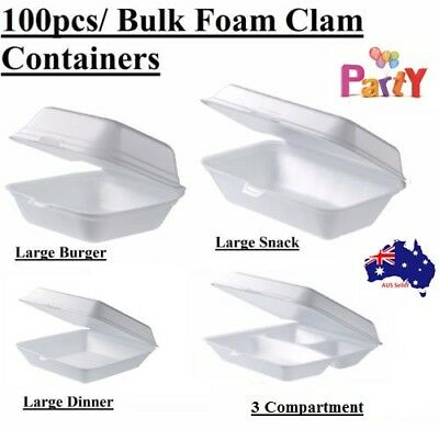 100 Pcs Foam Clam Take Away Containers Boxes Burger Dinner Snack Plates Hot Bulk