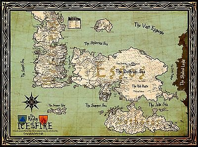A3 Game Of Thrones The Realm of Ice and Fire Map POSTER GOTW02 BUY 2 GET 1FREE