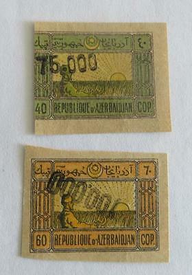 Azerbaijan 1923 surcharges on 40k and 60k unused