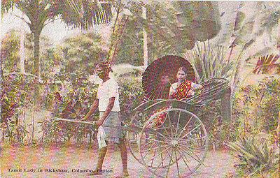 Tamil Lady in Rickshaw, Colombo, Cylon  posted 1937