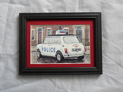 Classic Police Cars Mini Cooper S Stunning Framed & Mounted Postcard **Offers**