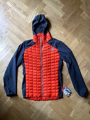 The North Face Men's THERMOBALL HYBRID HOODIE Insulated Jacket Orange Grey XS