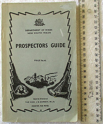 PROSPECTOR'S Prospectors GUIDE NSW Dept Mines (fold-out) map 1958 7th Ed'n Gold