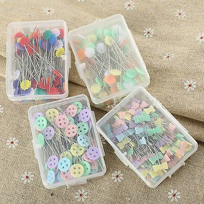 100 Pack Wire-steel Patchwork Sewing Pins In Case Needle Craft Plum Bow Button