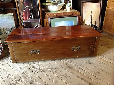 Georgian End of Bed Pine Chest Single Drawer C 1800s Brass Handles  45 inch rare