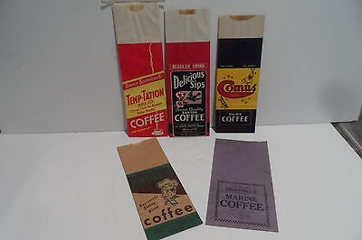5 Lot Vintage NOS 1Lb Paper Advertising Coffee Sacks!! Got 2 See These Beauties!