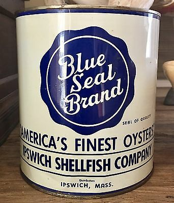 Rare Blue Seal Vtg Oyster Tin Can Gallon Ipswich Ma - Packed In Md !!