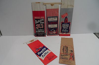 5 Lot Vintage NOS 1Lb Paper Advertising Coffee Sacks!! Colorful!! Great Ads!!!!