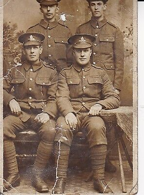"""WW1 """"  Studio photo of four handsome soldiers  """"  unused card"""