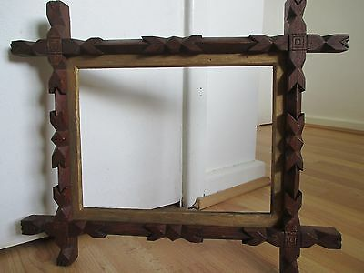 Beautiful 19th Century Hand Carved Wooden Folk Art Frame for Picture - Painting
