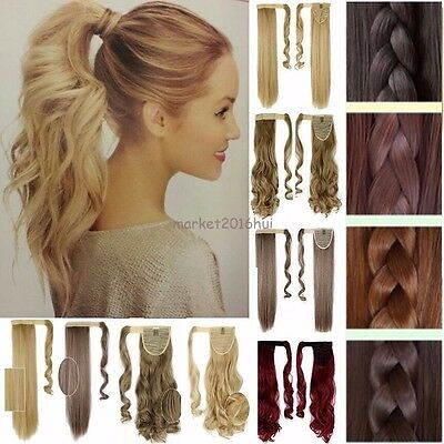 UK Real Thick Hair Wrap Around Ponytail Hair Piece Clip In Pony Tail Fake Hair M