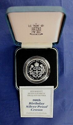 "1990 Silver Proof £5 Crown coin ""Queen Mother's 90th"" in Case with COA  (Y3/129)"
