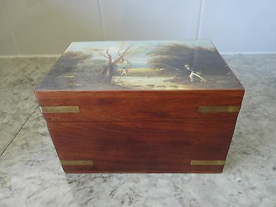 Lovely Small Vintage Antique Wooden Storage Box With Fishing Design On Lid