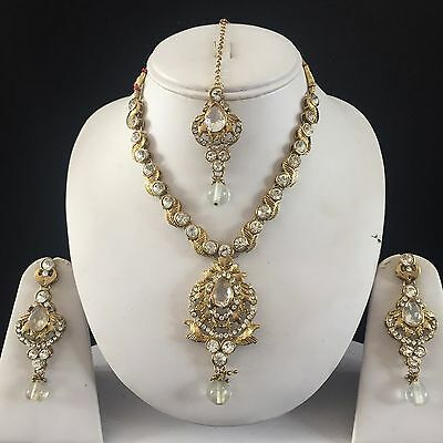 Clear Gold Kundan Indian Costume Jewellery Necklace Earrings Crystal Set New