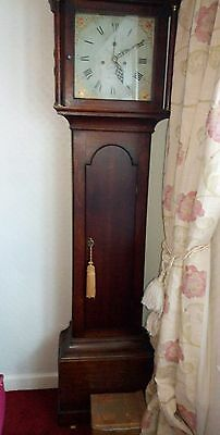 Oak cased 30 hour country clock with painted dial. Birdcage movement.