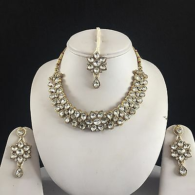 Clear Gold Indian Costume Jewellery Necklace Earrings Crystal Set Bridal New 66