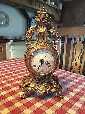 Mantel clock BRASS TABLE CLOCK  ANTIQUE BAROQUE GOLD French mantel clock