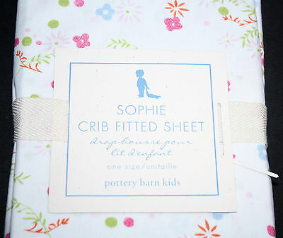 Pottery Barn Kids Sophie Fitted Crib Sheet Girls Organic Cotton Floral Polka Dot