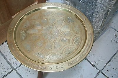 Vintage French Moroccan Large brass tray with copper and pewter  #14