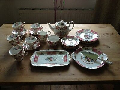 Beautiful and immaculate 32 piece Royal Albert Bone China 'Lady Carlyle' Tea Set
