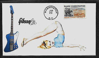1965 Gibson Firebird V & Pin Up Girl Featured on Collector's Envelope *A328
